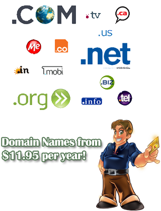 Get your own domain name today for as little as $11.95 per year!